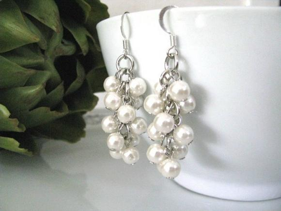 Bridal Ivory Cream Faux Pearls Cascading Cluster Earrings - Bridesmaids Earrings - Bridal Earrings