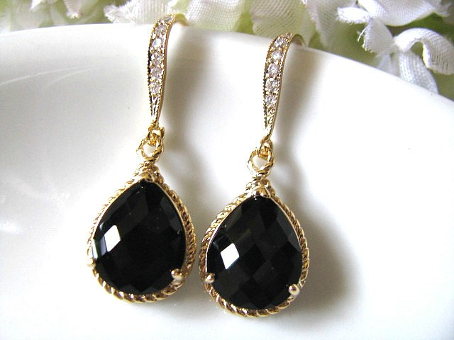 Black Onyx Crystal Gl Drop With Matte Gold Cubic Zirconia Hook Earrings Bridal Bridesmaid Wedding