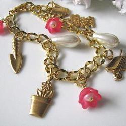 Flower Garden Bracelet - Nature Inspired, Gift For Her, Gift For Mum
