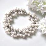 Bridal Ivory Cream Faux Pearls Casc..