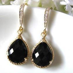 Black Onyx Crystal Glass Drop With Matte Gold Cubic Zirconia Hook Earrings - Bridal Earrings, Bridesmaid Earrings, Wedding Earrings