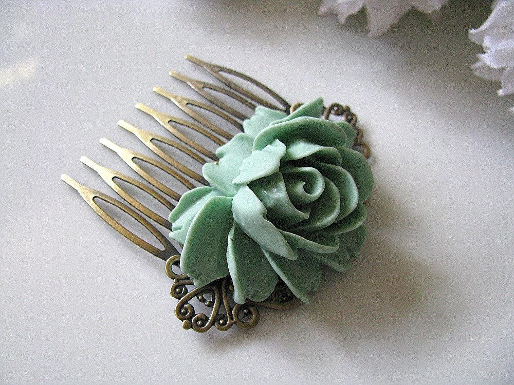 mint green rose flower antique brass art nouveau filigree hair comb